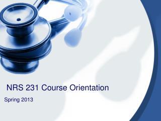 NRS 231 Course Orientation