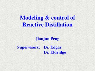 Modeling & control of  Reactive Distillation