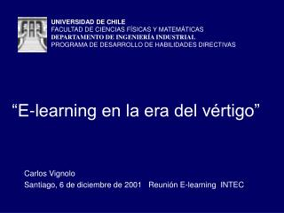 """E-learning en la era del vértigo"""