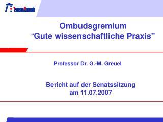 """Ombudsgremium """" Gute wissenschaftliche Praxis"""