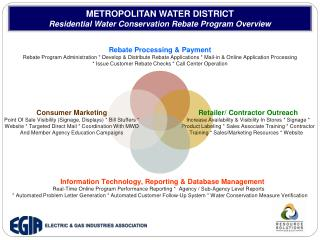 METROPOLITAN WATER DISTRICT Residential Water Conservation Rebate Program Overview