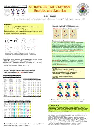 STUDIES ON TAUTOMERISM  Energies and dynamics