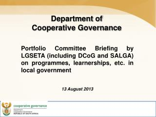 Department of  Cooperative Governance