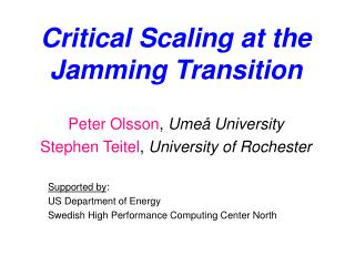 Critical Scaling at the Jamming Transition