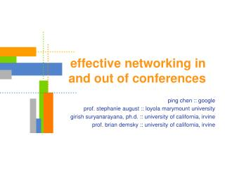 effective networking in  and out of conferences