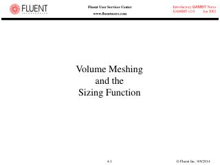 Volume Meshing and the Sizing Function