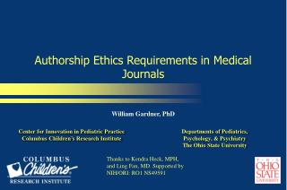 Authorship Ethics Requirements in Medical Journals