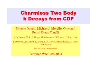 Charmless Two Body  b Decays from CDF