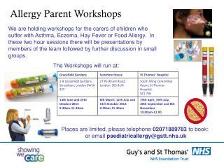 Allergy Parent Workshops