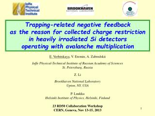 Trapping-related negative  feedback  as  the  reason for collected charge restriction