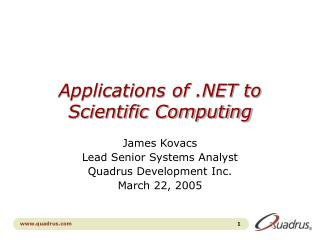 Applications of  to Scientific Computing