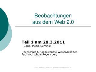Beobachtungen  aus dem Web 2.0