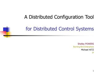A Distributed Configuration Tool for Distributed Control Systems