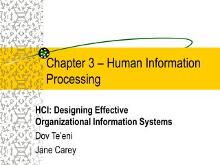 Chapter 3 � Human Information Processing
