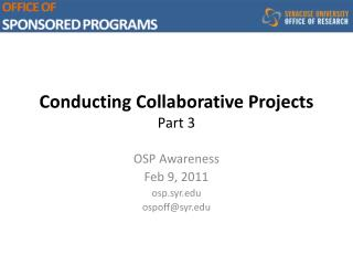 Conducting Collaborative Projects Part  3