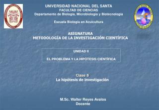 ASIGNATURA METODOLOGÍA DE LA INVESTIGACIÓN CIENTÍFICA