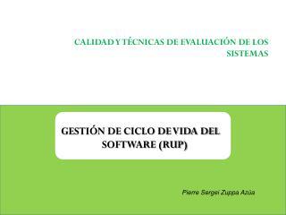 CALIDAD Y TÉCNICAS DE EVALUACIÓN DE LOS SISTEMAS