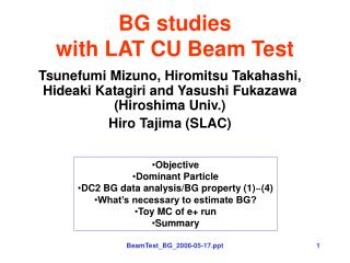 BG studies  with LAT CU Beam Test