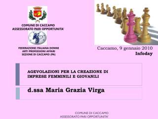 AGEVOLAZIONI PER LA CREAZIONE  DI IMPRESE FEMMINILI E GIOVANILI d.ssa Maria Grazia  Virga