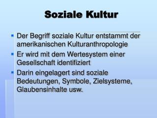 Soziale Kultur