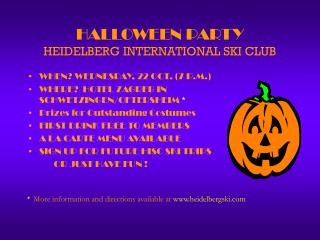 HALLOWEEN PARTY HEIDELBERG INTERNATIONAL SKI CLUB