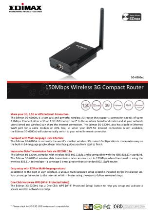 150Mbps Wireless 3G Compact Router