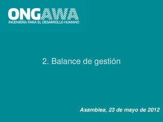 2. Balance de gestión