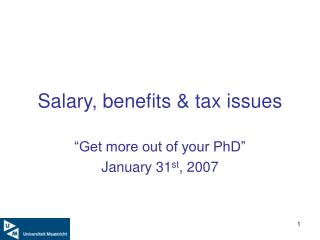 Salary, benefits  tax issues