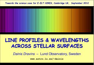 LINE PROFILES & WAVELENGTHS ACROSS STELLAR SURFACES