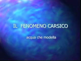 IL  FENOMENO CARSICO