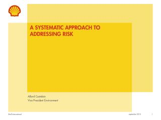 a systematic approach to Addressing risk