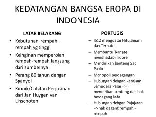 KEDATANGAN BANGSA EROPA DI INDONESIA