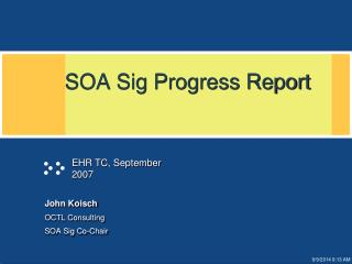 SOA Sig Progress Report