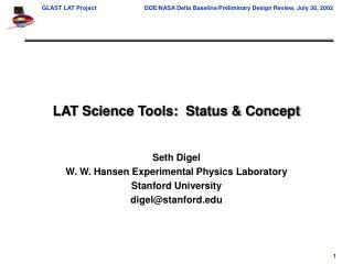 LAT Science Tools:  Status & Concept