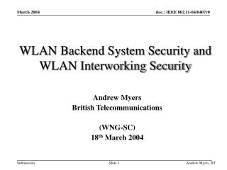 WLAN Backend System Security and WLAN Interworking Security