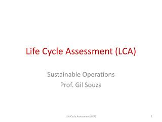 Life Cycle Assessment LCA
