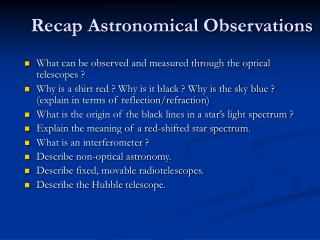 Recap Astronomical Observations