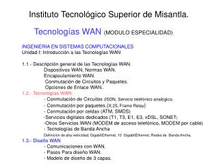 Tecnolog�as WAN  (MODULO ESPECIALIDAD)