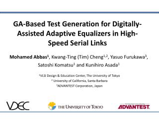 GA-Based Test Generation for Digitally-Assisted Adaptive Equalizers in High-Speed Serial Links
