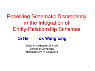Resolving Schematic Discrepancy in the Integration of  Entity-Relationship Schemas