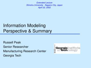 Information Modeling Perspective & Summary