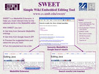 SWEET Simple Wiki Embedded Editing Tool cs.umb/sweet/
