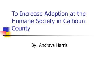 To Increase Adoption at the Humane Society in Calhoun County