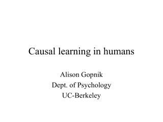 Causal learning in humans