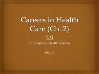 Careers in Health Care (Ch. 2)