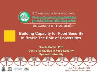 Building Capacity for Food Security in Brazil: The Role of Universities