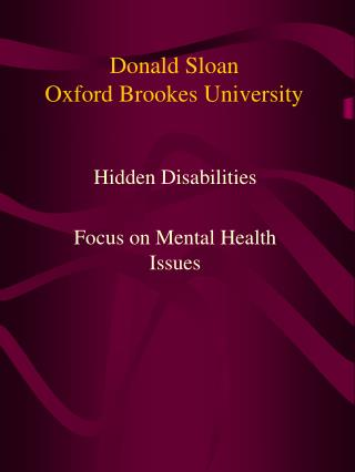 Donald Sloan Oxford Brookes University