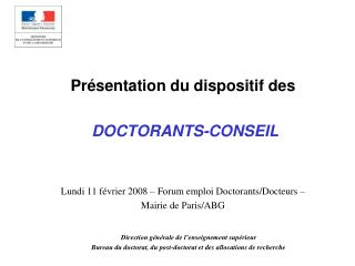 Présentation du dispositif des DOCTORANTS-CONSEIL