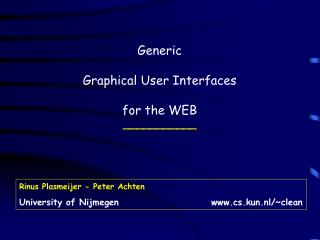 Generic Graphical User Interfaces for the WEB ___________