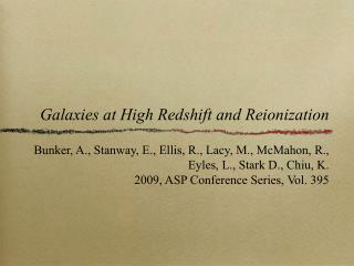 Galaxies at High Redshift and Reionization